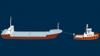 A power-driven vessel towing, length of the tow under 200 m - lights