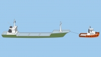 A power-driven vessel towing, length of the tow over 200 m - shapes